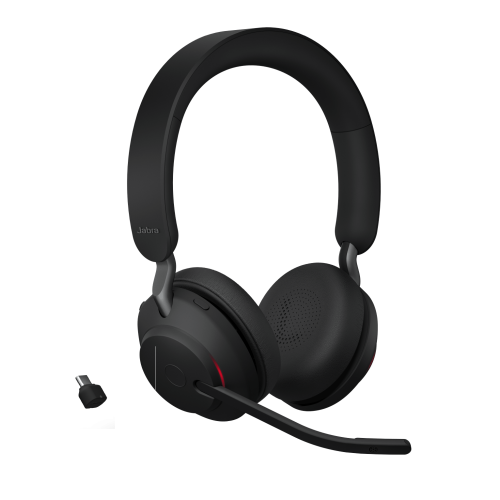 Jabra Evolve2 65 MS Teams Stereo Headset with USB Link380c Adapter - Black