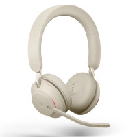 Jabra Evolve2 65 UC Stereo Headset with USB Link380c Adapter - Beige